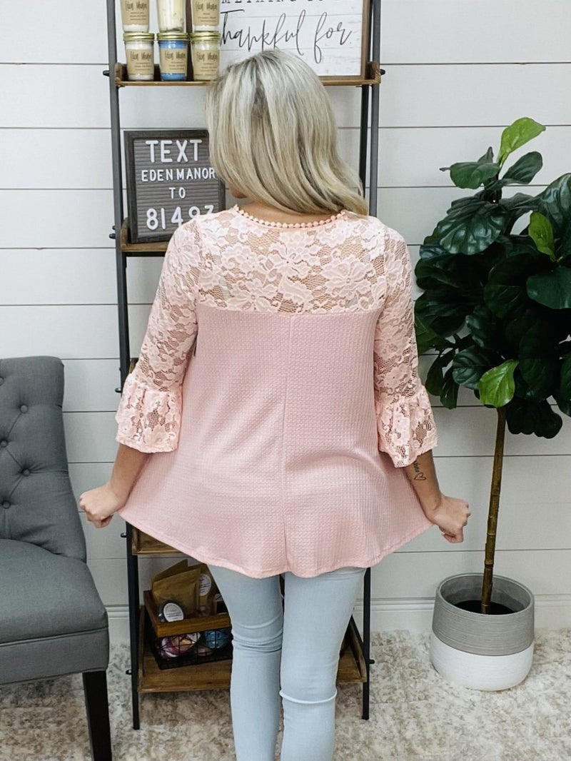 Waffle Knit Top with Lace Half Sleeves