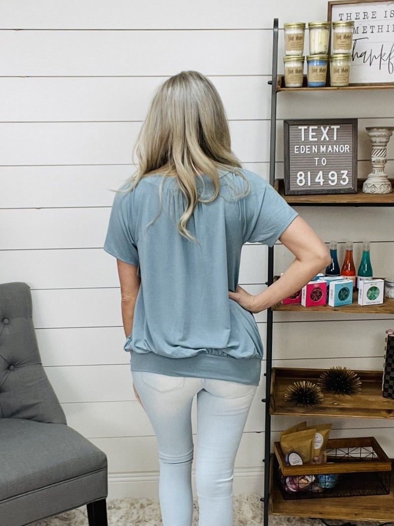 Over Sized Blue Grey Shirring Top