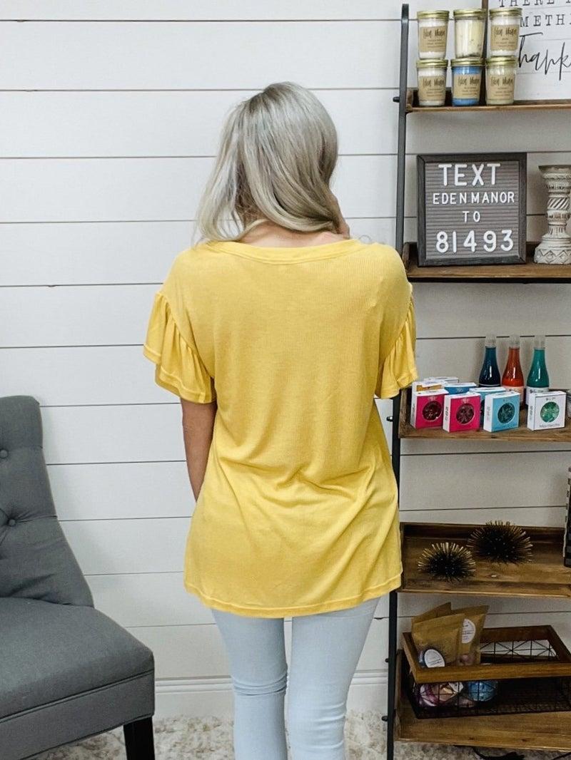 Normally 32.95 - Frill Sleeved Ribbed Mustard Top
