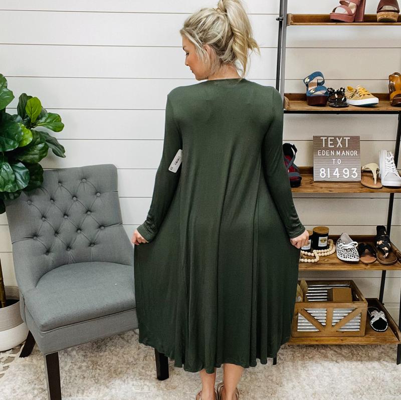 Long Sleeve Long Cardigan Olive