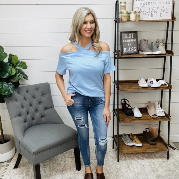 ON SALE - Blue Open Shoulder Top