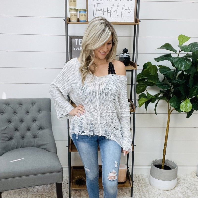 ON SALE - POL Distressed Large Knit Sweater
