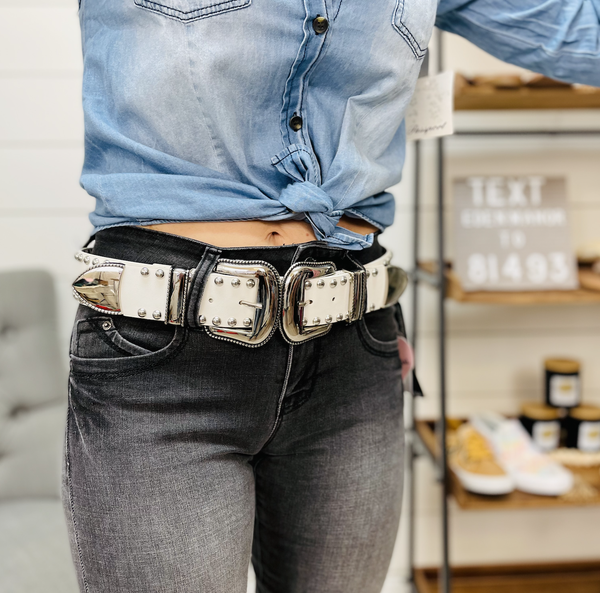 Thick White Studded Belt