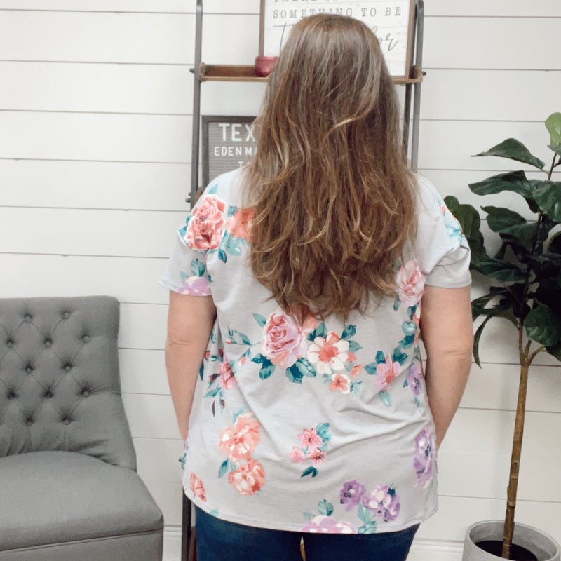 normally $37 - Floral Top with Stripe Detailing