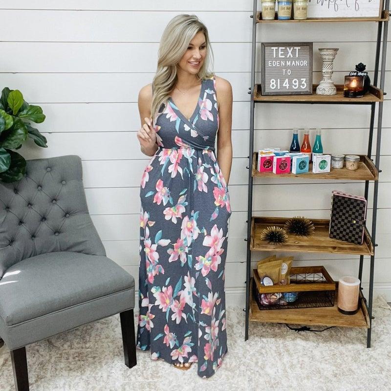 on sale - Heathered Grey V-Neck Dress with Floral Design