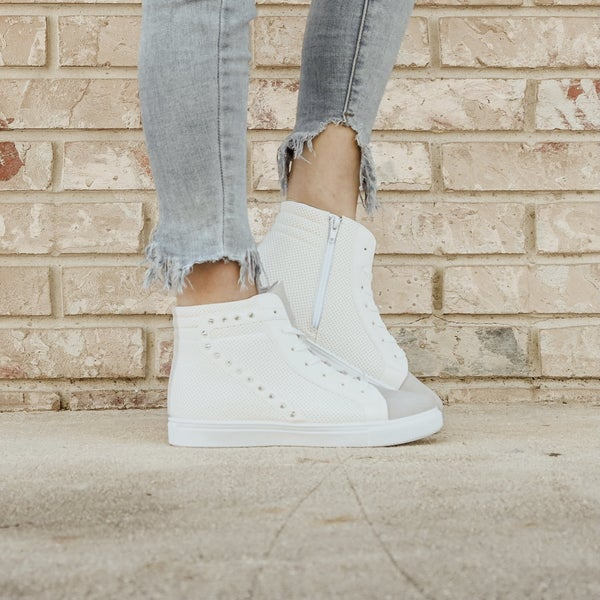 White High Top Sneakers with Spike Detail