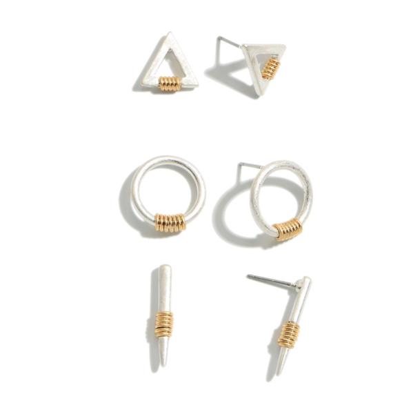 3 PC Two Tone Geometric Stud Earring Set - silver