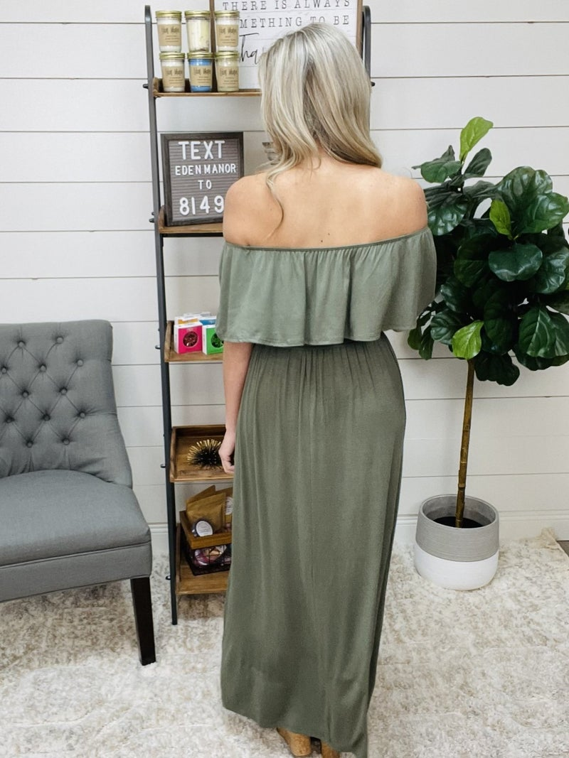 Normally $42.95 - Olive Maxi Dress with Front Tie