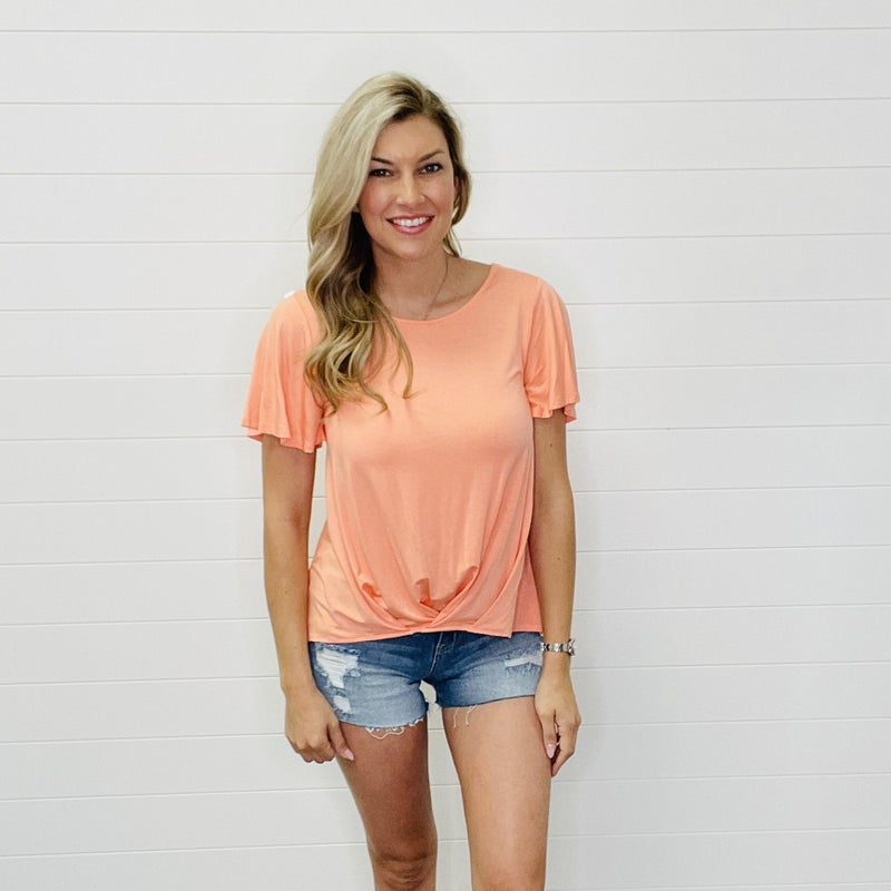 Solid Flowy Top With Sleeve Detail