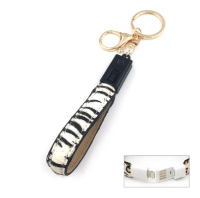 Iphone USB Charging Cord Keychain -White Zebra