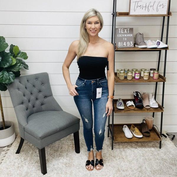 YMI Distressed Hem Blue Skinny Jeans
