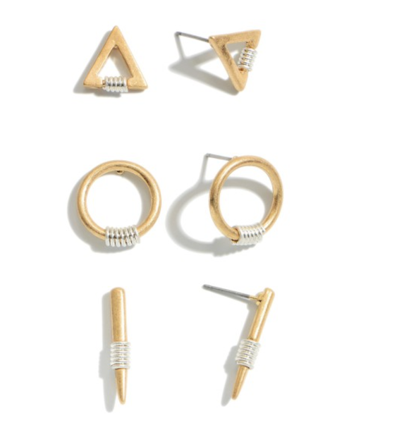 3 PC Two Tone Geometric Stud Earring Set