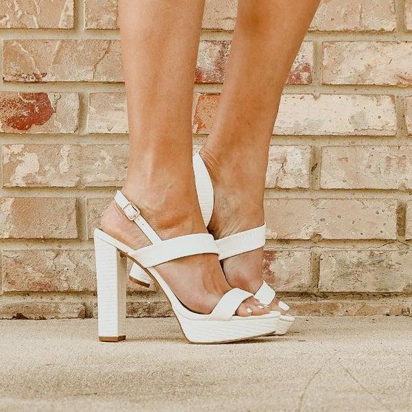 White Lizard Sling Back Block Heels