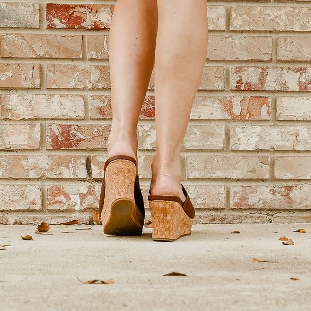Normally $55.95 - Brown Cork Wedges