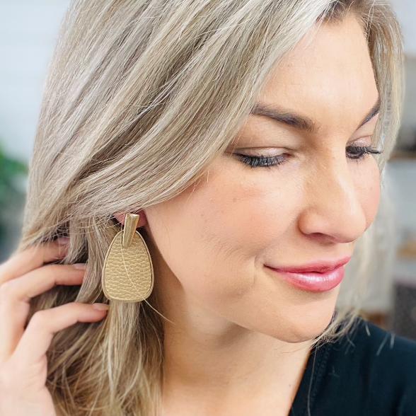 ON SALE - Gold Faux Leather Metal Teardrop Earrings