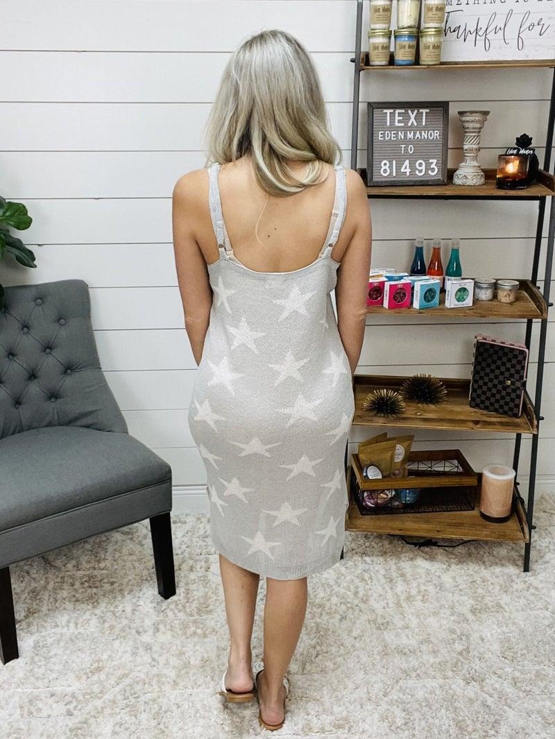 POL Gray Sweater Knit Star Dress