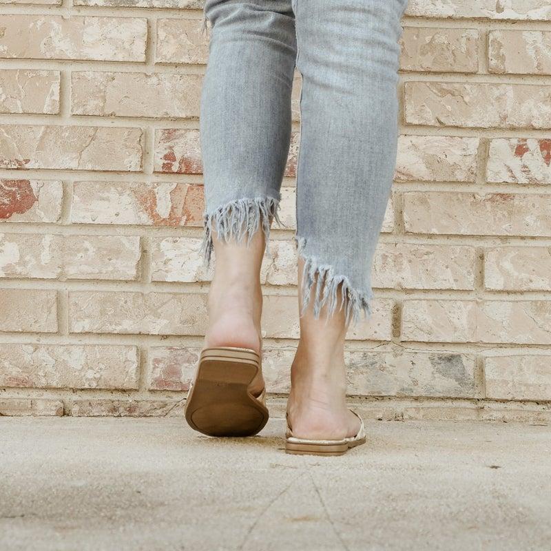 White Checkered Inspired Slide on Sandals