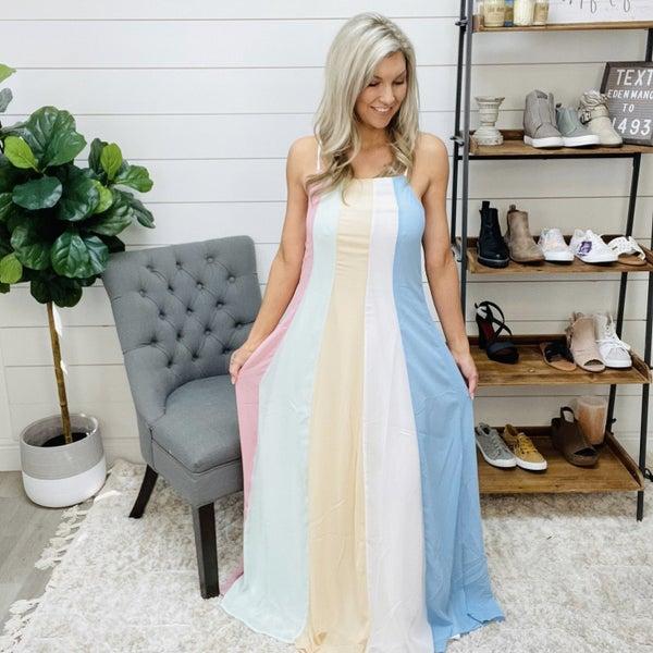 Color Block Stripe Print Goddess Cami Maxi Dress