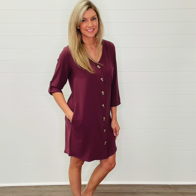 Woven Front Button Tunic Cardigan Eggplant
