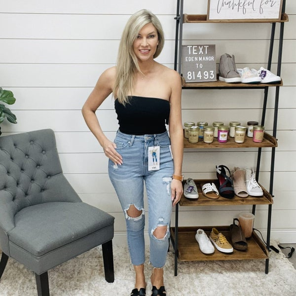 YMI Slim Straight Ankle Distressed Jeans