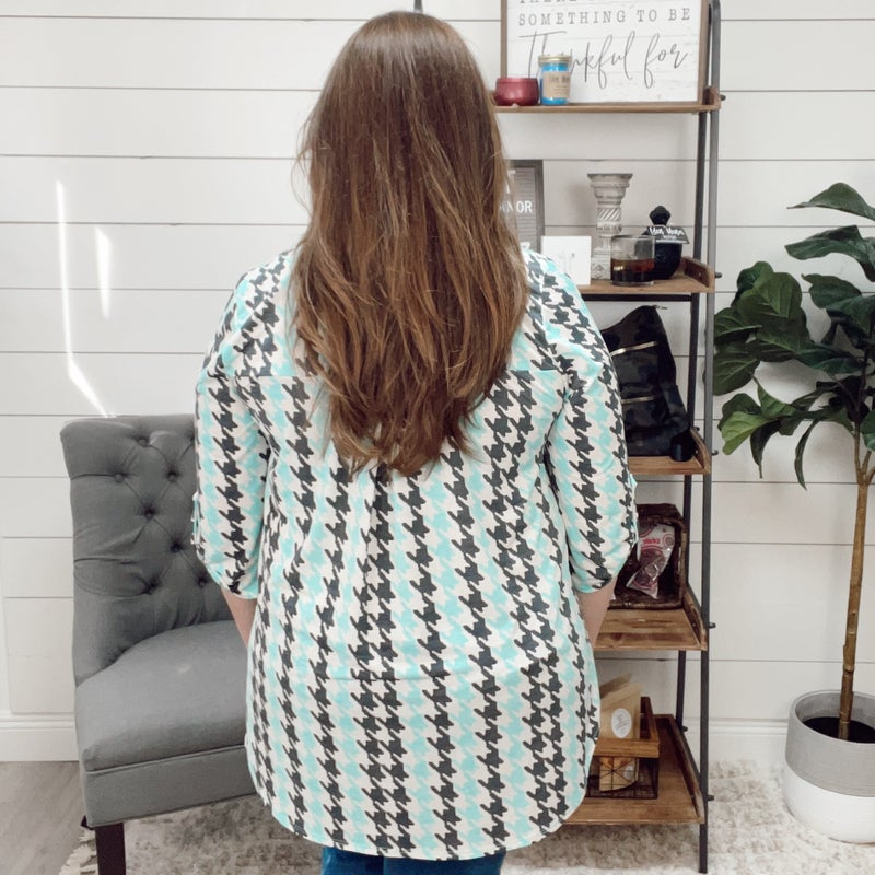 Normally 30.95 - Houndstooth Teal and Grey Blouse