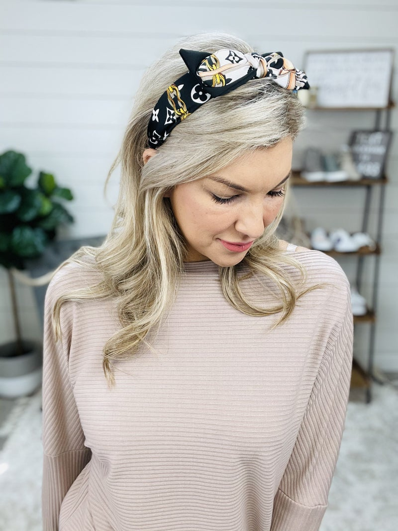 LV Inspired Double Bow Headband: Gold & Nude Accents