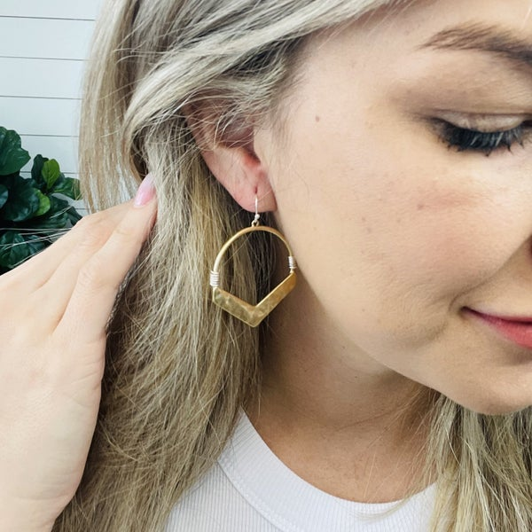 Hammered Metal Drop Earrings Featuring Two Tone Accents