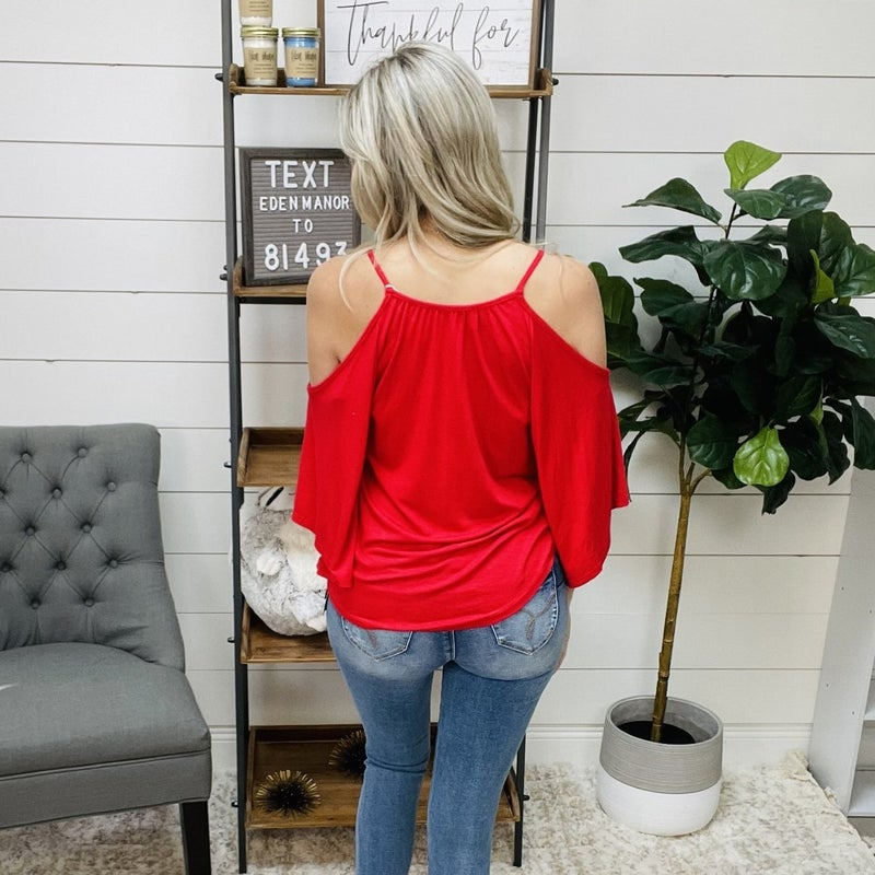 Ruby Red Dolman Sleeved Top