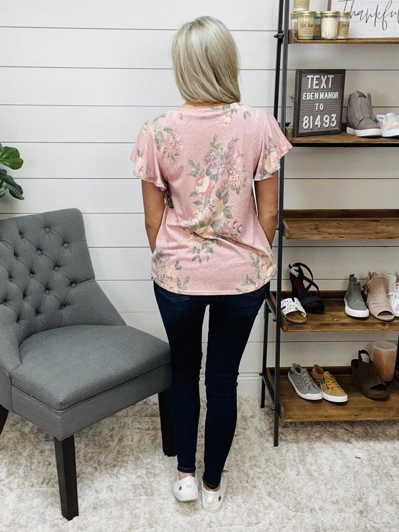 Floral V-Neck Flare Short Sleeve Top