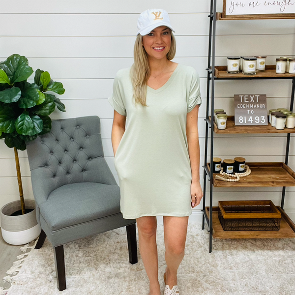 Rolled Short Sleeve top/dress with pockets - zenana