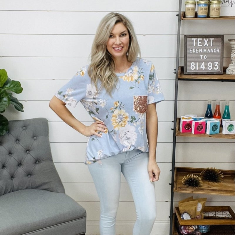 Plus Sequin Pocket Floral Tee