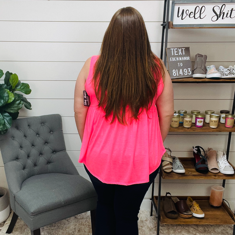 ON SALE - Plus Solid Babydoll Top - Neon Pink - normally 36.95