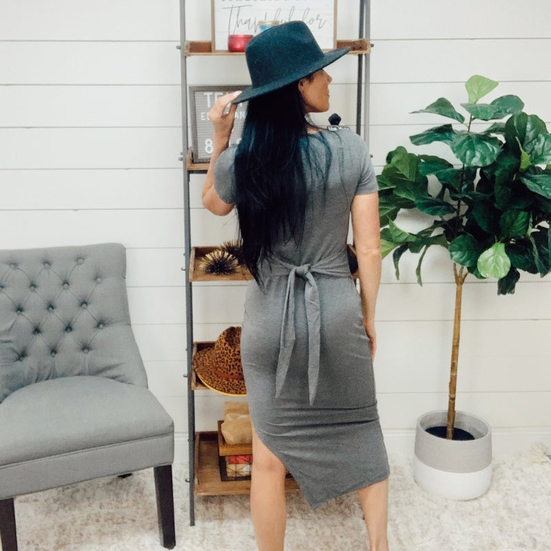 on sale - Charcoal Tie Casual Dress
