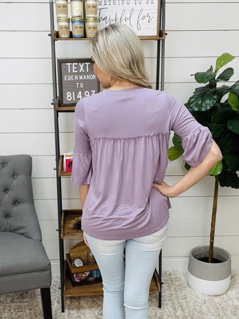 ON SALE - Dusty Purple Half Sleeved Ruffle Top