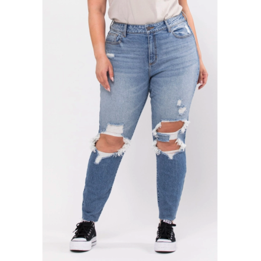 Cello- Plus High RIse DIstress Mom Skinny Jeans