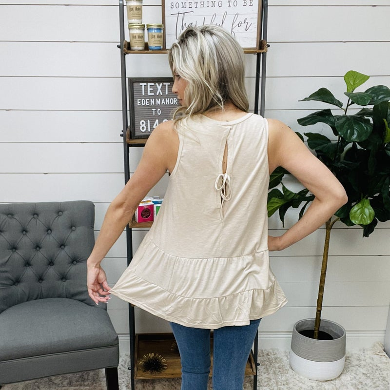 on sale - Taupe Tiered Tie Back Top
