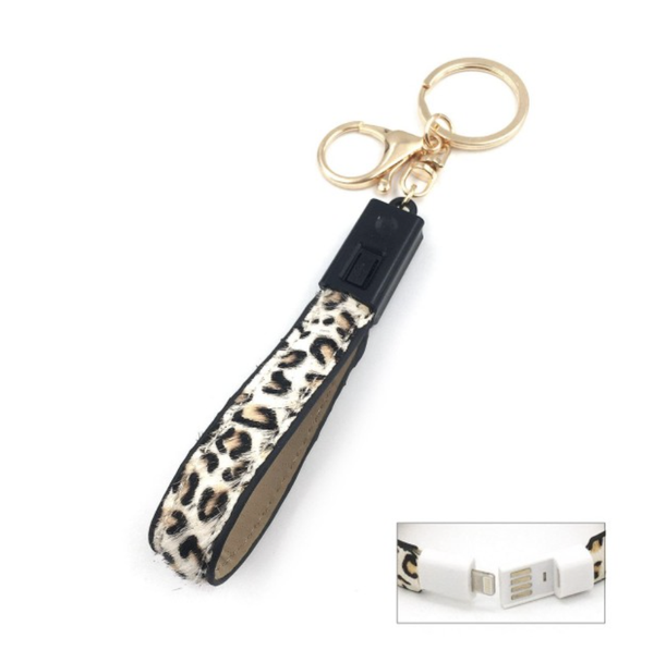 Iphone USB Charging Cord Keychain -White Leopard