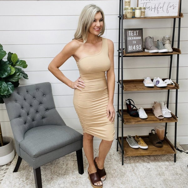 Lelis Beige Body Con One Shoulder Dress