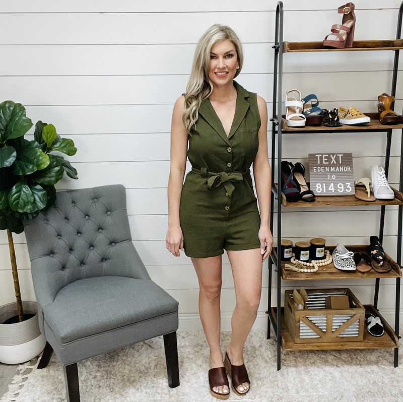 Sleeveless Collared Shirt Belted Romper w/ Pocket