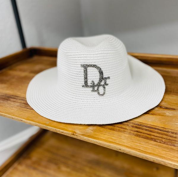 Designer Inspired Embellished Sun Hat- D I O R