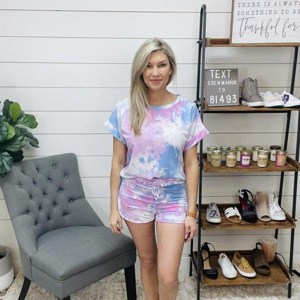 Short Sleeve Multi Tie Dye Knit Lounge Set