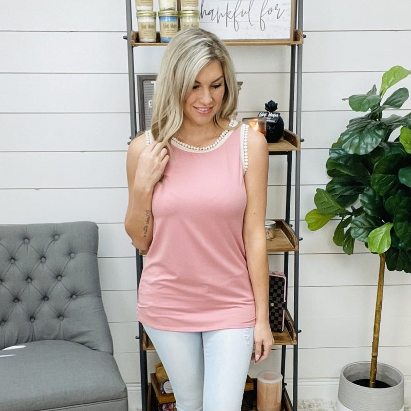 ON SALE - Dusty Pink Sleeveless Top with Crochet Detail