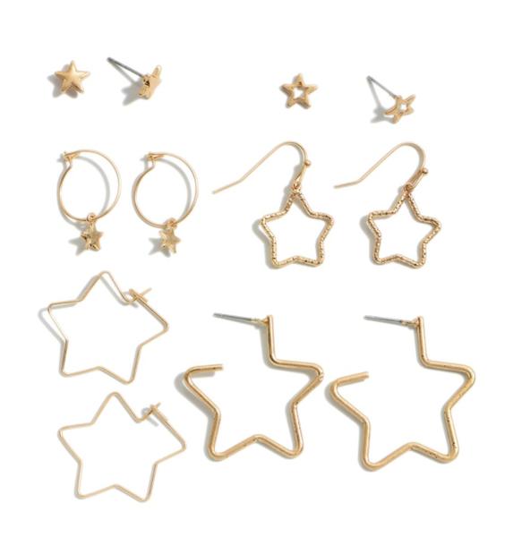 6 PC Metal Star Decor Earring Set