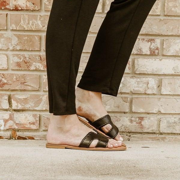 Black Slip on Comfort Sandals