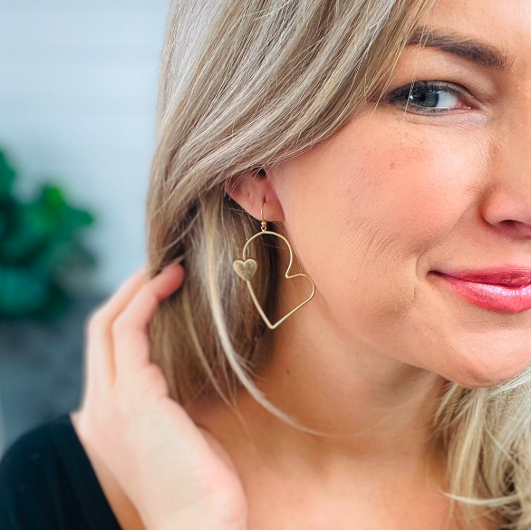 Gold Heart Drop Earrings Featuring a Heart Accent