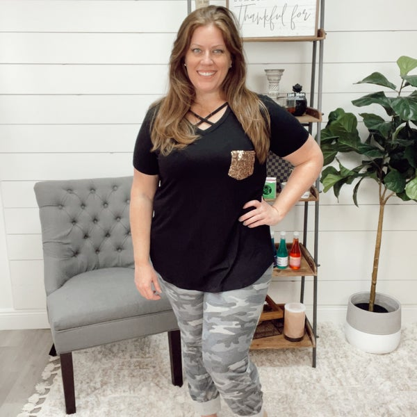 Black Plus Top with Rose Gold Sequin Pocket