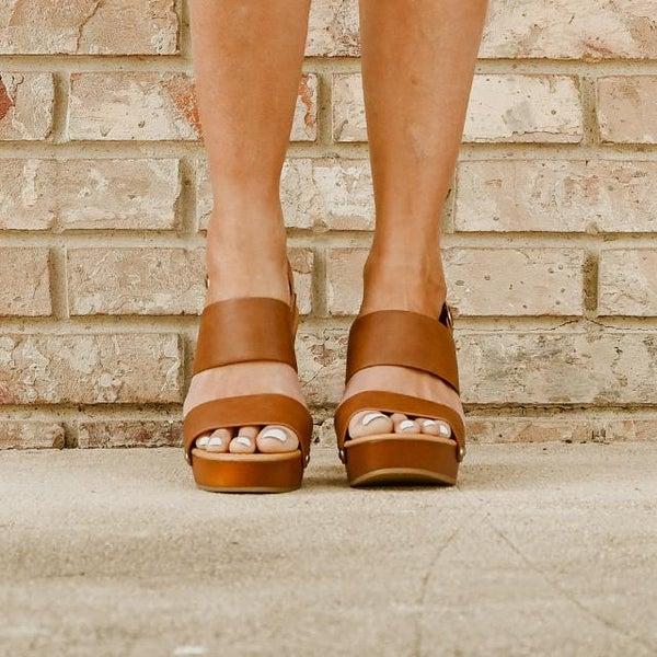 Double Strap Camel Sling Back Block Heels