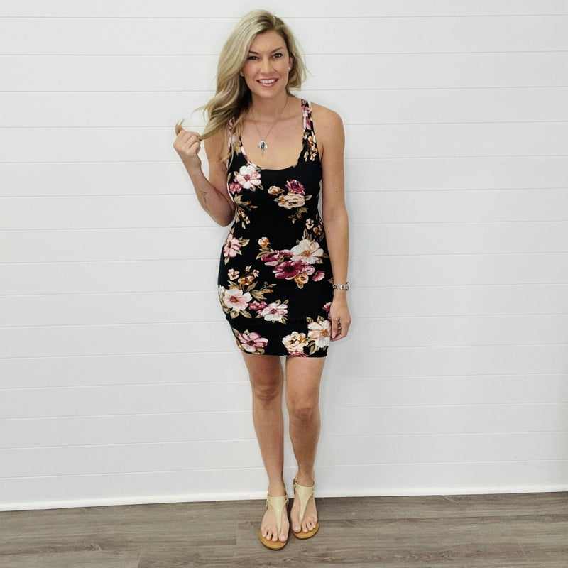 Black Floral Racerback Tank Dress