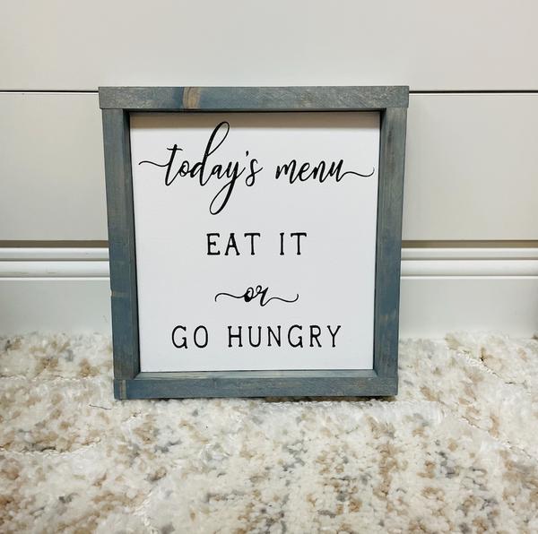 Todays Menu Sign | Wood Sign | Kitchen Wood Sign | - GREY
