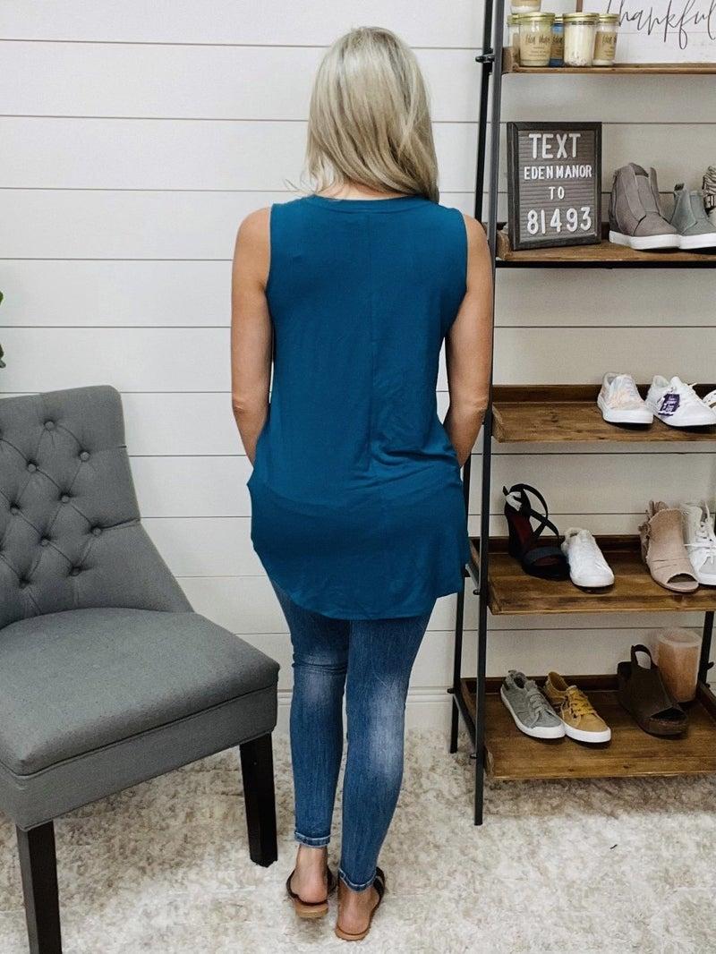 Luxe Rayon Sleeveless V-Neck Hi_low Hem Top